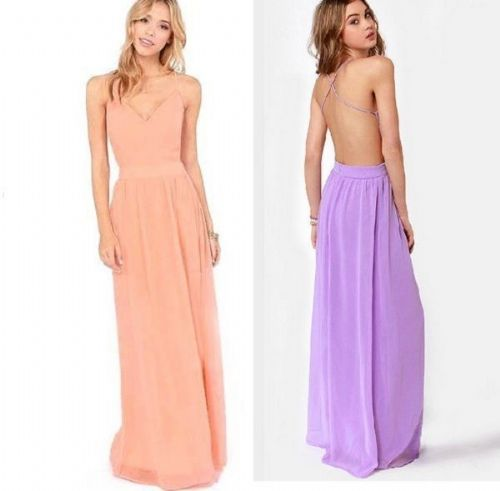 Elegant Sexy Cross Back Chiffon Party Evening Prom Bridesmaid Wedding Long Dress